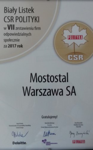 Mostostal Warszawa awarded with a White CSR Leaf of